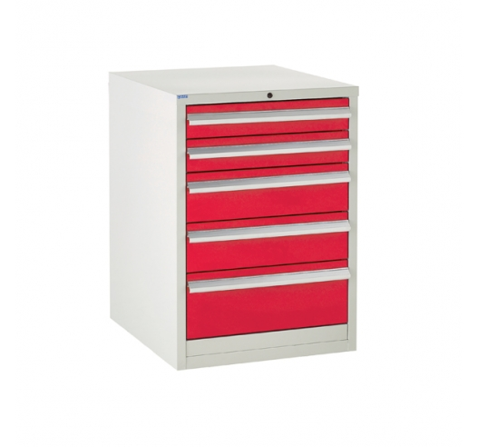 Euroslide cabinet with 5 drawers in red