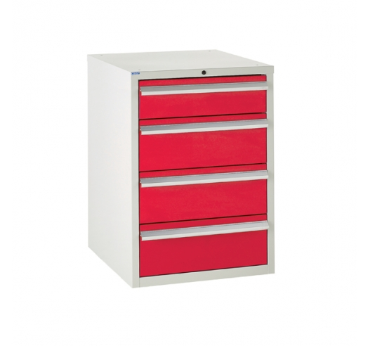 Euroslide cabinet with 4 drawers in red