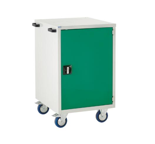 Mobile Euroslide cabinet with 1 cupboard in green