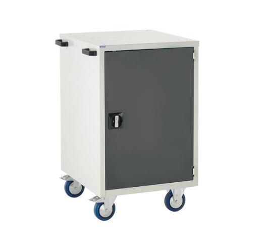 Mobile Euroslide cabinet with 1 cupboard in grey