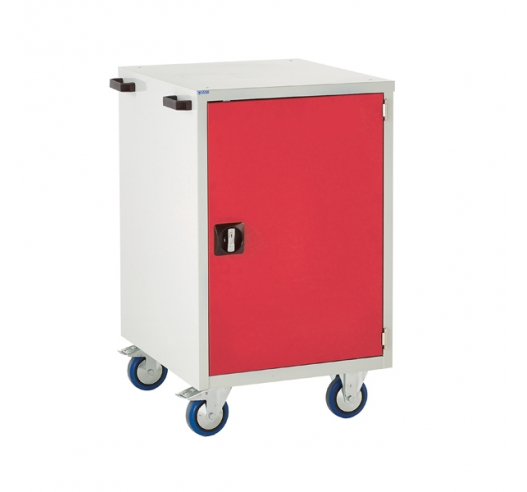 Mobile Euroslide cabinet with 1 cupboard in red