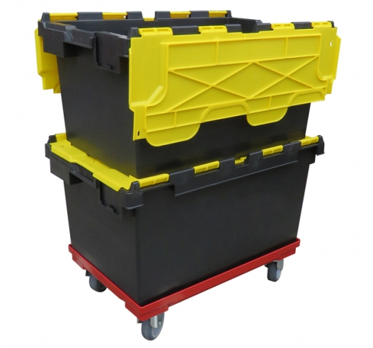Yellow and Black Crates on Dolly