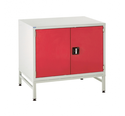 Under bench Euroslide cabinet and stand with 1 cupboard in red