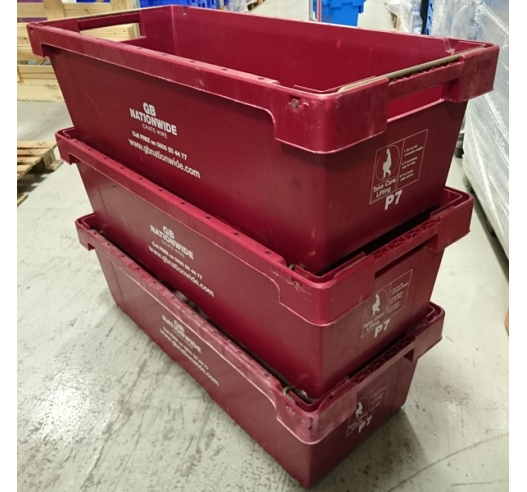 A6 Used Burgundy Crate Stacked