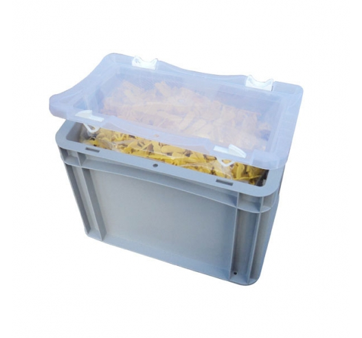 Case with open clear lid and contents