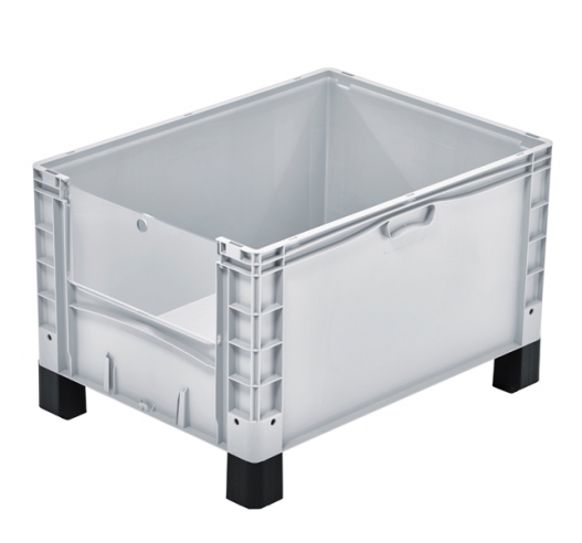 Basicline Plus Open End Euro Picking Container with Translucent Door and Feet
