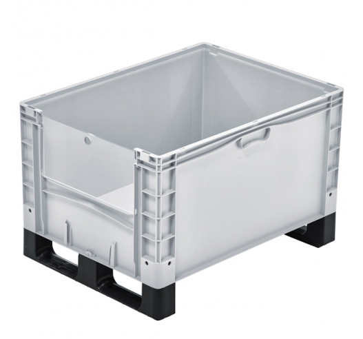 Basicline Plus Open End Euro Picking Container with Translucent Door and Runners