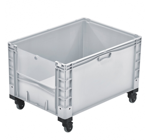 Basicline Plus Open End Euro Picking Container with Translucent Door and Wheels