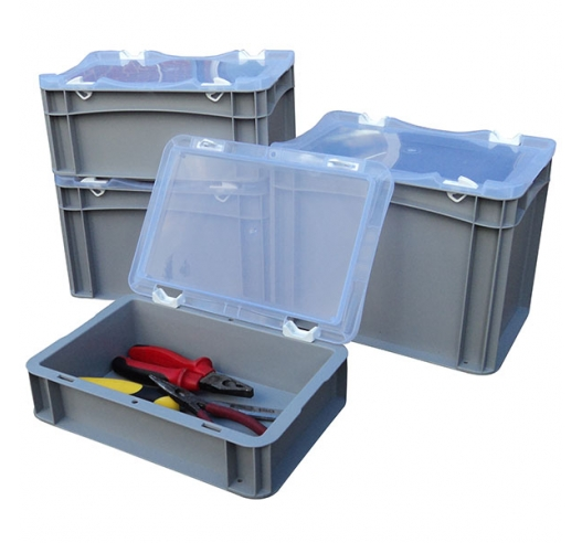 Group of Basicline cases with clear lids
