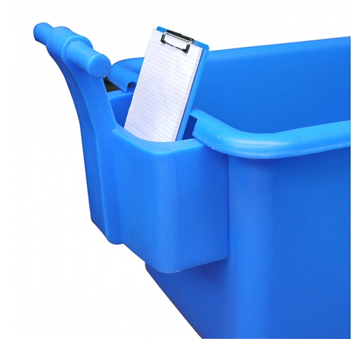 Blue handle with contents on container truck