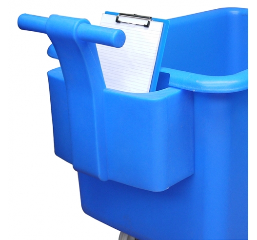Blue handle on a container truck