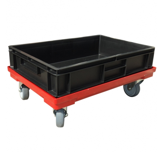Black Recycled Euro Container on a dolly