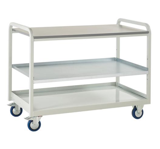 Euroslide Steel Shelf Trolley with laminate worktop