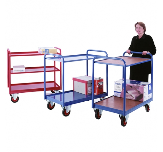 Group of Tray Trolleys In Blue And Red