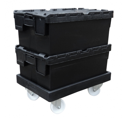 Attached Lid Container on Black ROTO64D Dolly