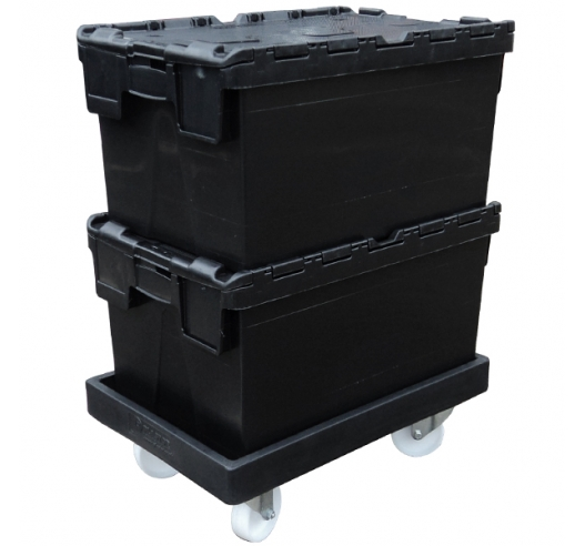 Stacked Containers on Black ROTO64D Dolly