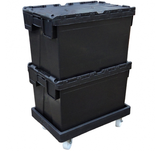 Black Recycled Container on Black ROTO64D Dolly