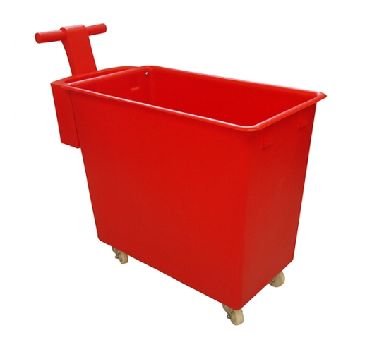200 litre mobile truck in red with handle