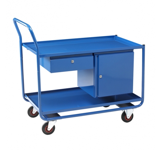 Trolley with 2 Steel Shelves, 1 Drawer and 1 Cupboard