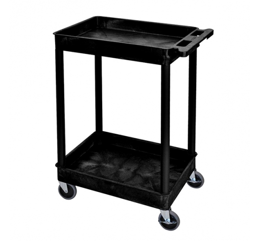 Strong Plastic Shelf Trolley with 2 Deep Trays