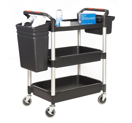 Trolley with 3 Deep Trays And Side Storage