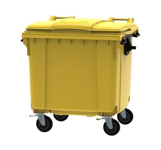 Yellow 1100 litre wheeled bin