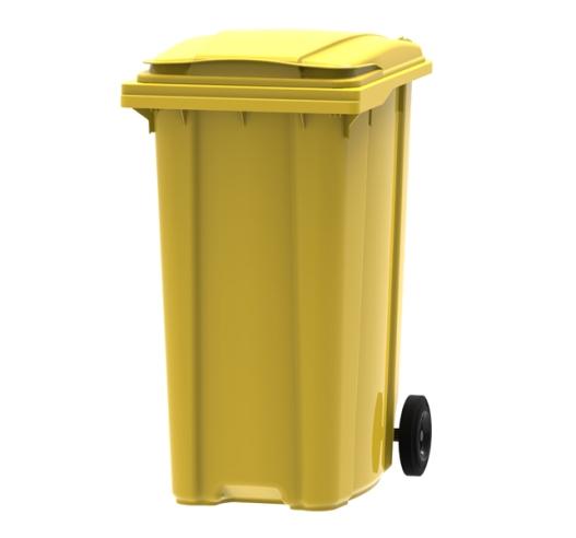 Yellow 360 litre wheelie bin
