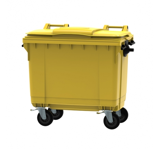 Yellow 660 litre wheeled bin