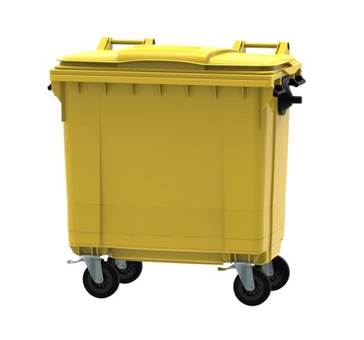 Yellow 770 litre wheeled bin
