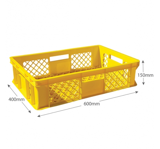 Yellow Vented Stacking Crates