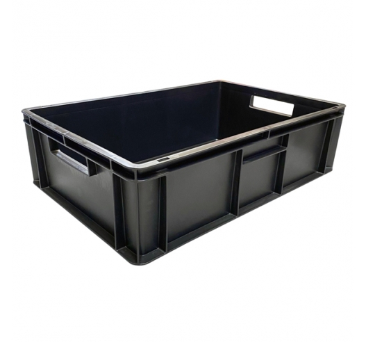 Black Stackable Recycled Plastic Euro Container with Hand Holes