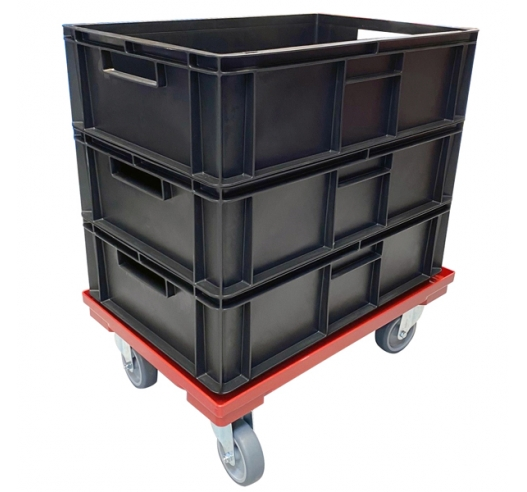 Black Euro Containers on Wheeled Dolly Skate