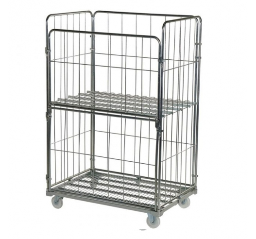 Demountable Pallet Sized Roll Cage with Optional Shelf