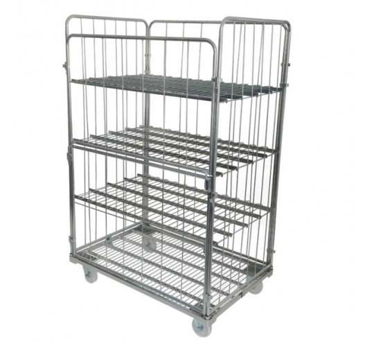 Demountable Pallet Sized Roll Cage with x3 Optional Shelves