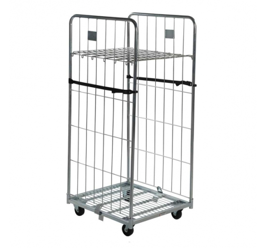 2 Sided Roll Container with Straps and Shelf