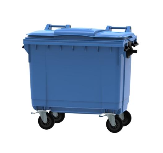 Blue 660 litre wheeled bin