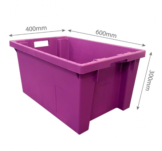 Purple 600x400x300mm Stack Nest 180 degree Crates with Measuremnts