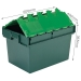 Large storage crate box with hinged lid
