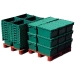 Stacked and Nested Plastic Crates
