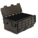 Black 40 litre plastic containers with attached lids