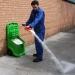 Salt dispensing container bin on wheels