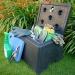Mini grit bin with garden equipment