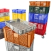 Stack of coloured ventilated containers