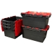 Large Plastic Heavy Duty Crates in Black and Red: 80 Litres