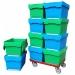 Medium Plastic Blue Green Storage Boxes with Lids