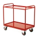 Tray Trolley With Timber Trays In Red